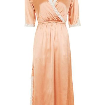 Satin Lace Wrap Midi Dress