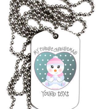 Personalized My First Christmas Snowbaby Girl Adult Dog Tag Chain Necklace