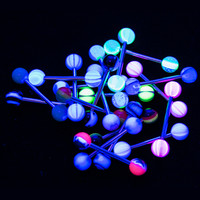 Glow In The Dark Tongue Piercing Barbells 20 Pieces