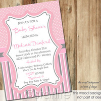 Pink Gray Grey Dots Stripes - Baby Shower Invitation - 5x7 - Baby Girl - PRINTABLE INVITATION DESIGN