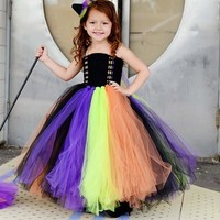 Handmade New Girls Witch Halloween Tutu Dress Kids Baby Princess Tulle Dress Children Festival Birthday Costume TS090