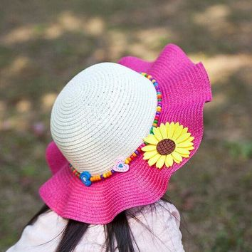 LMF78W 1 Pcs Korean Falbala Flower Children Sun Hats Fashion Spring Summer Hats For Girl Beach Straw hats 7 Colors 6154