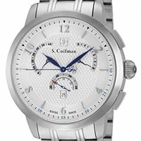 S. Coifman SC0235 Men's Watch Swiss Made Chronograph Silver Stainless Steel Band