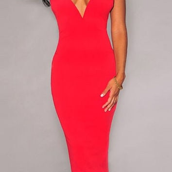 Plunging Neckline Criss-Cross Solid Color Bodycon Dress
