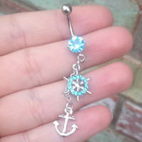 Unique Ship's Wheel Anchor Belly Button Ring