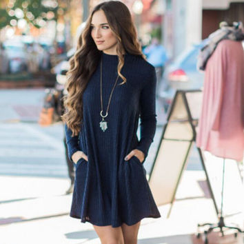 Fashion High-Quality Plain Long Sleeve Dress With Pocket Women's Autumn and Winter Clothing +Free Gift Christmas Gold Necklace