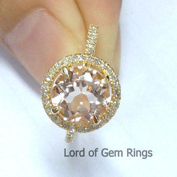 7mm Round Morganite & Diamond Ring in 14k Yellow Gold, .27ct Pave Diamond Halo Engagement Ring Claw Prongs, Same Day USA Shipping