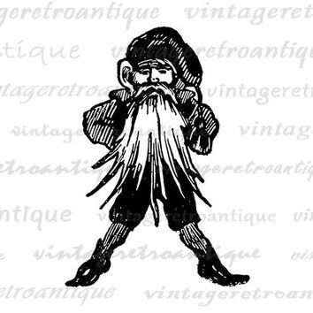 Digital Printable Santa Elf Christmas Image Download Graphic Artwork Antique Clip Art Jpg Png Eps  HQ 300dpi No.2451