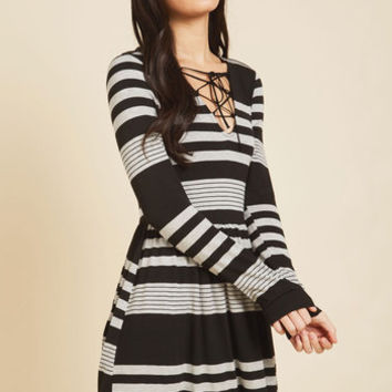 Coffee Shop Reading Long Sleeve Dress in Grey Stripes | Mod Retro Vintage Dresses | ModCloth.com