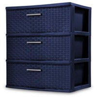 Wide 3 Drawer Classy Weave Design Storage Organizer Cart