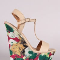 Bamboo T-Strap Watercolor Print Platform Wedge