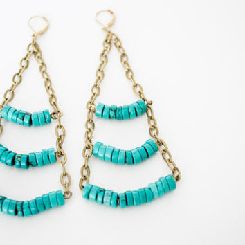 Turquoise Disks Beaded & Chain Ladder Dangle Earrings