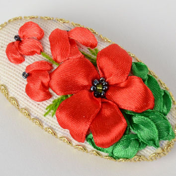 Handmade oval textile brooch with flowers satin ribbon embroidery Poppies