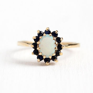 Estate Gemstone Ring - 14k Rosy Yellow Gold Genuine Opal & Sapphire Halo Statement - 1980s Vintage Size 6 1/2 Dark Blue Gem Fine Jewelry