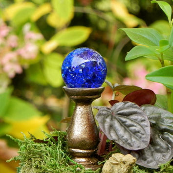 Fairy Garden Gazing Ball Miniature  Crackle Cobalt Blue for terrarium accessories - ONE
