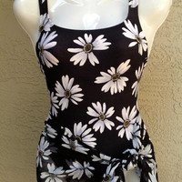 Daisy Print Vtg Swimsuit with sheer cover up skirt Black and White Baja Blues Pontelle knit size XS Made in USA