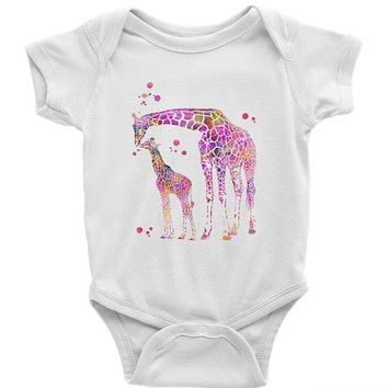 Pink Giraffe Baby Onesuit baby Bodysuit Infant Baby Rib Short Sleeve One-Piece Printing American Apparel pink giraffe Onesuit baby clothing