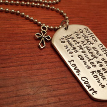 Hand stamped personalized dog tag men's necklace, police theme. Protect and serve to the highest degree
