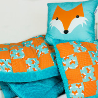 Baby Blanket Quilt Patchwork Overlay and Pillows Foxes Foxy Minky Fox Baby Blanket Pillow Fox Orange Teal Neutral Baby Blanket Throws