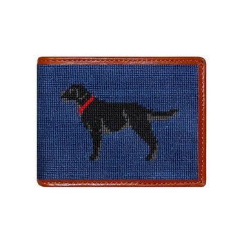 Black Lab Needlepoint Bi-Fold Wallet in Navy by Smathers & Branson