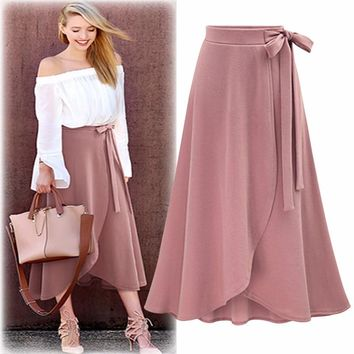 New Autumn Women Fashion Midi Wrap Skirts Long Solid Plus Size Asymmetrical Skirt Casual Lace Up High Waist Skirts
