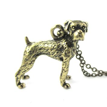 Realistic Boxer Dog Shaped Animal Pendant Necklace in Brass | Jewelry for Dog Lovers