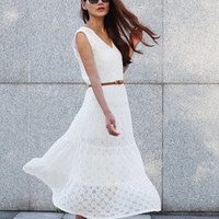 """Maxi Lace Dress Romantic '' V """" Neck Sleeveless Lace Long Dress For Summer in White- NC379"""
