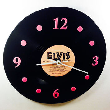 "Vinyl Record Clock, Wall Clock, Elvis Record, Recycled Music Record, 12"" Record, Battery & Wall Hanger included, Item #27"