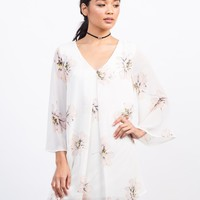 Flowy Chiffon Floral Shift Dress