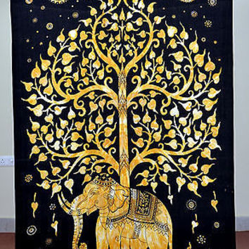 Indian TapestryTree Elephant Black & Brown Color Single Bed Sheet TIUK SBS19BL