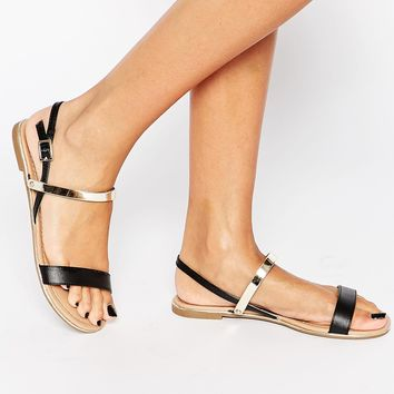 Call It Spring Gligodien Black Double Strap Flat Sandals at asos.com