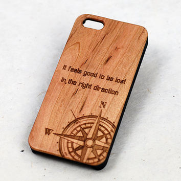 Compass Wood iPhone 6 Case, wooden iphone 6 plus case, travel quote iphone 5 case, compass iphone 5c case, engraved iphone 4 cover