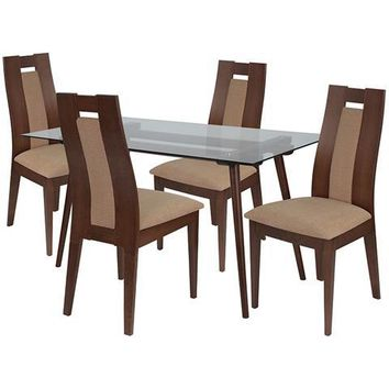 Newman 5 Piece Walnut Wood Dining Table Set with Glass Top and Curved Slat Wood Dining Chairs - Padded Seats