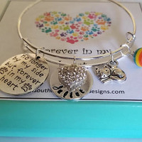Pet Memorial Forever in my Heart Adjustable Bangle Bracelet Pet Loss Sympathy Memory Hand Stamped Personalized Custom