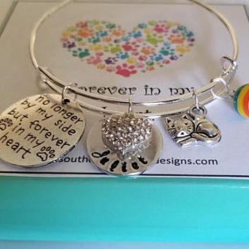 ec84a5fab Pet Memorial Forever in my Heart Adjustable Bangle Bracelet Pet
