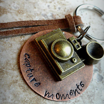 Capture Moments Stamped Keychain Camera Charm Keyring Keychain