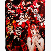 DC Comics Harley Quinn Many Faces Throw Blanket