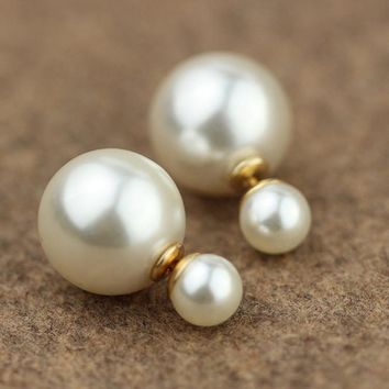 Jewelry 1pair Double Sides Pearl Stud Earrings