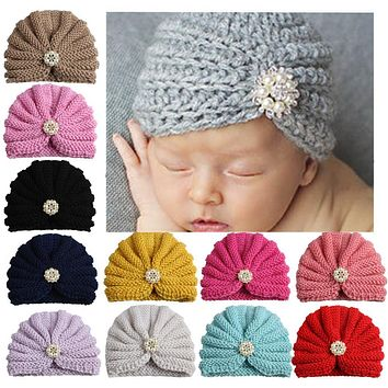 1pcs New arrival children india hat vintage pearls rhinestone Turban cap kids beanie hats baby hats caps dome hats for girls