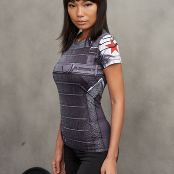 Winter Soldier 3D Printed T-shirts Women Captain America Compression Shirt Short Sleeve Cosplay Costume For Ladies Tops Female