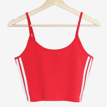 Side Striped Crop Cami - Red