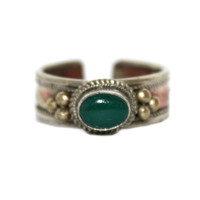 Jade Ring Adjustable Ring healing ring copper Ring Hippie Ring Gypsy Ring