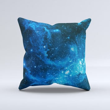 The Blue Hue Nebula ink-Fuzed Decorative Throw Pillow