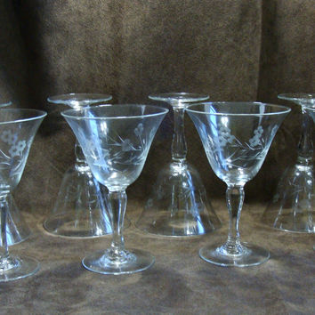 WT Grant Japan Hand Cut Stemware Vintage Glass Cocktails Set of 8