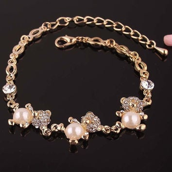Colorful Round,Bear,Hello Kitty,Flower,Kiss Shaped 14K Gold Plated Bracelets & Anklets For Women