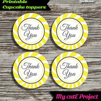 """Thank you - Cupcake toppers - Yellow - Instant Download - Party printable - Party favor - Candy Bar - 5 cm / 2"""""""