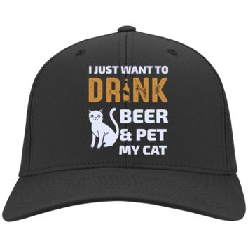 Cat Hat - I Just Want To Drink Beer & Pet My Cat