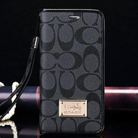COACH Fashion New Pattern Print Women Men Leather Protective Case Wallet Phone Case