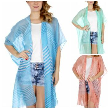 Striped Light Ruana in One Size fits Most in 3 Colors