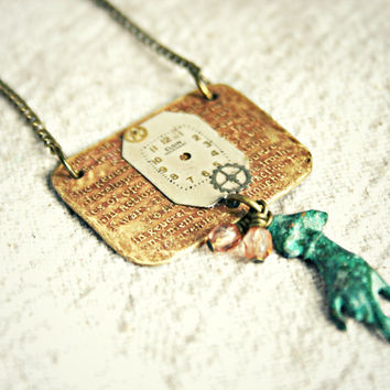 ETCHED BRASS and WATCH Face Necklace with Verdigis Hand Charm and Glass Beads - 18 inches total length - Ready to Ship
